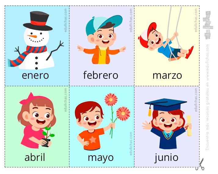 Aprendemos los meses del año en castellano e inglés